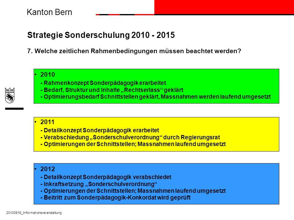 Kanton Bern 20100915_Informationsveranstaltung Strategie Sonderschulung 2010 - 2015 7. Welche zeitlichen Rahmenbedingungen müssen beachtet werden? 201