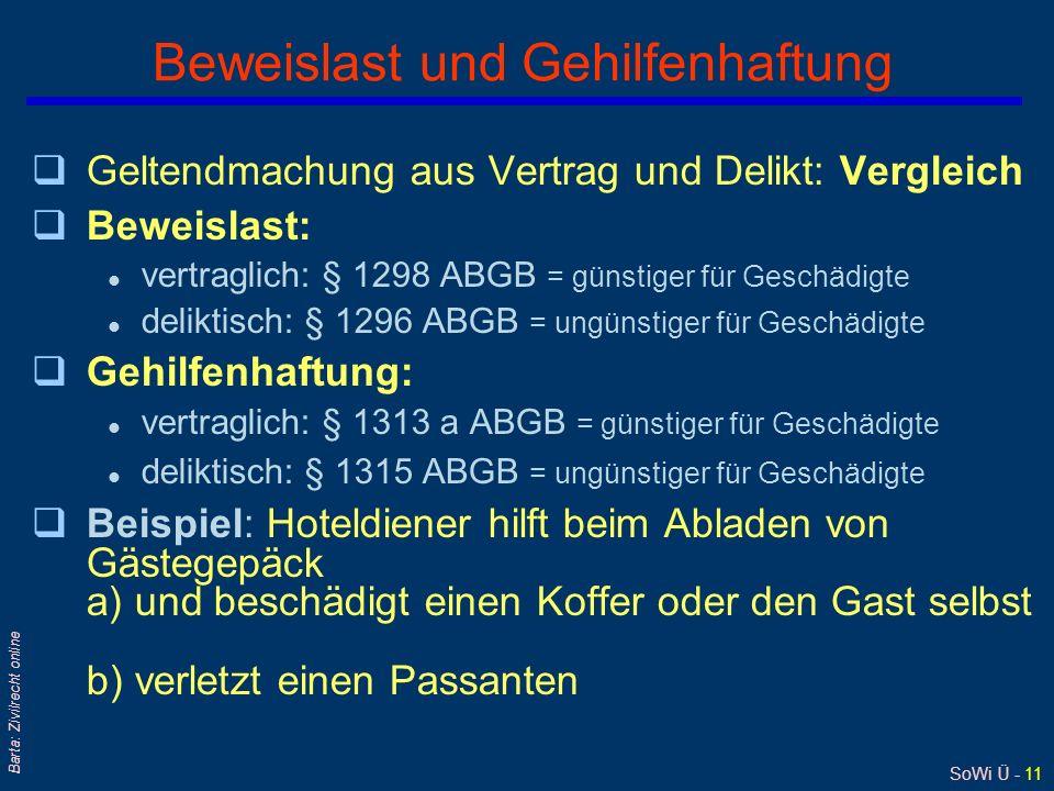 SoWi Ü - 11 Barta: Zivilrecht online Beweislast und Gehilfenhaftung qGeltendmachung aus Vertrag und Delikt: Vergleich qBeweislast: l vertraglich: § 12