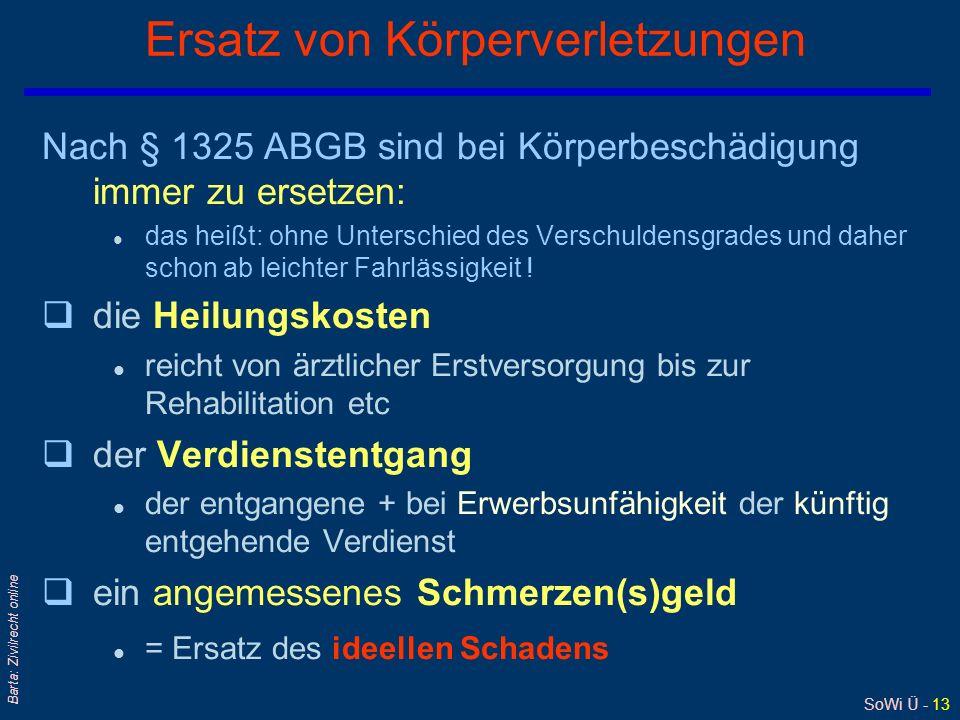 SoWi Ü - 13 Barta: Zivilrecht online Ersatz von Körperverletzungen Nach § 1325 ABGB sind bei Körperbeschädigung immer zu ersetzen: l das heißt: ohne U