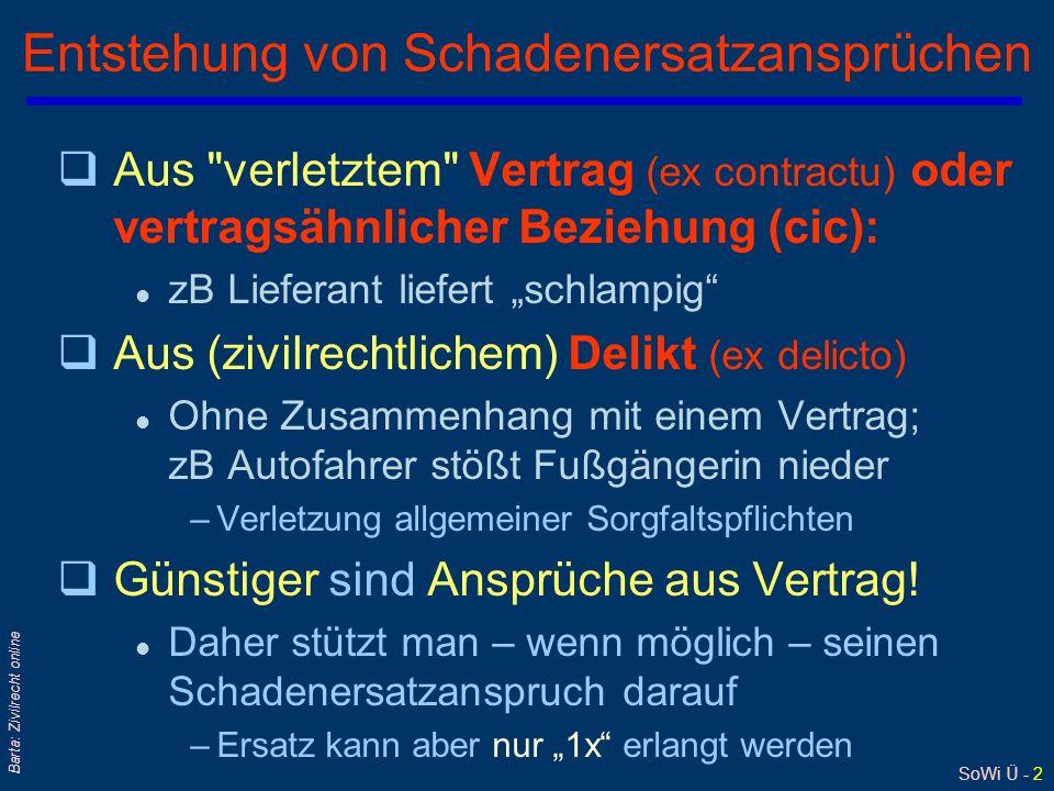 SoWi Ü - 23 Barta: Zivilrecht online Schadensermittlung: Differenzmethode Nach Gschnitzer qWie stünde der Betroffene ohne das Schadensereignis .