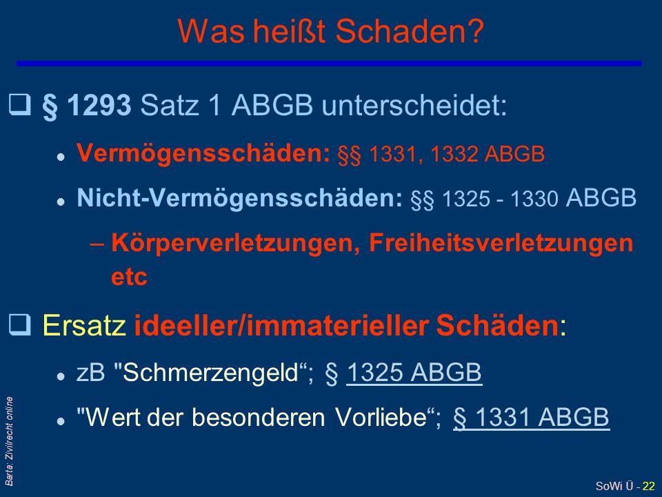 SoWi Ü - 22 Barta: Zivilrecht online Was heißt Schaden? q§ 1293 Satz 1 ABGB unterscheidet: l Vermögensschäden: §§ 1331, 1332 ABGB l Nicht-Vermögenssch