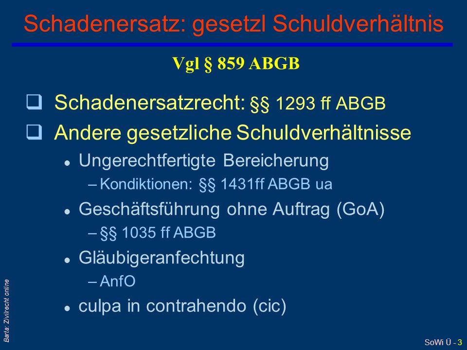 SoWi Ü - 3 Barta: Zivilrecht online Schadenersatz: gesetzl Schuldverhältnis qSchadenersatzrecht: §§ 1293 ff ABGB qAndere gesetzliche Schuldverhältniss