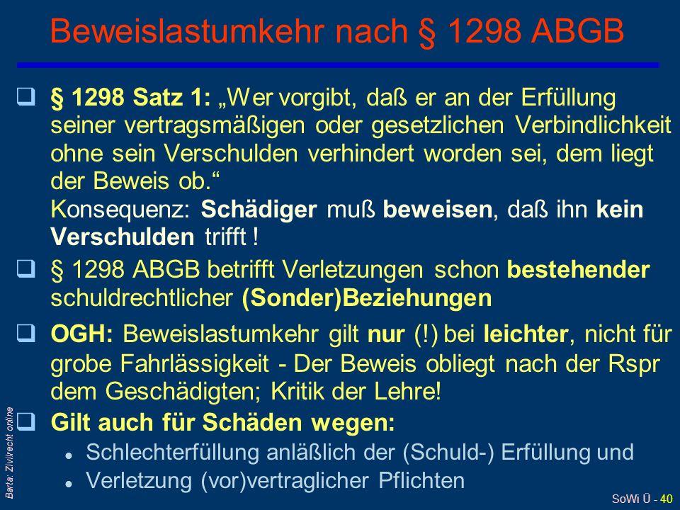 SoWi Ü - 40 Barta: Zivilrecht online Beweislastumkehr nach § 1298 ABGB q§ 1298 Satz 1: Wer vorgibt, daß er an der Erfüllung seiner vertragsmäßigen ode