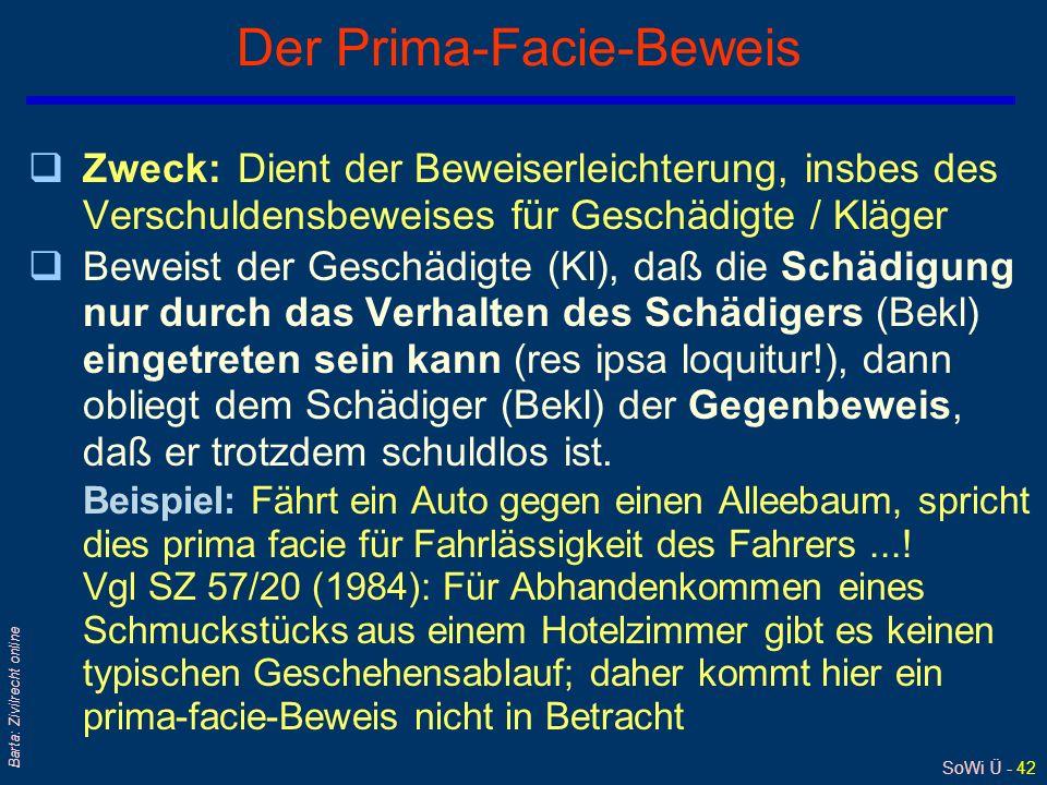 SoWi Ü - 42 Barta: Zivilrecht online Der Prima-Facie-Beweis qZweck:Dient der Beweiserleichterung, insbes des Verschuldensbeweises für Geschädigte / Kl
