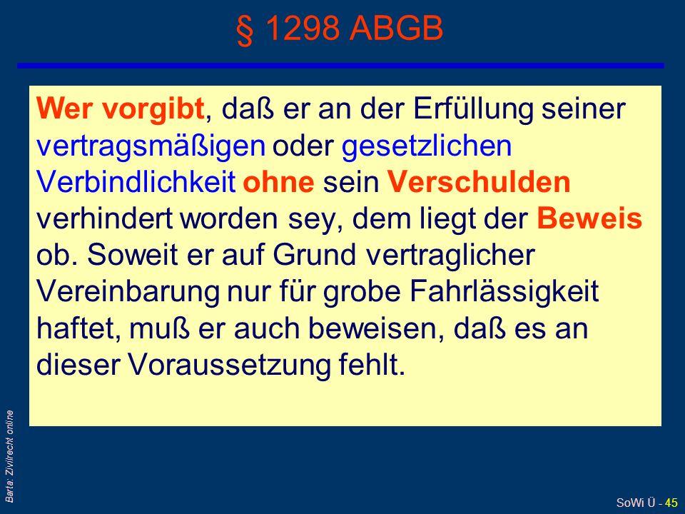 SoWi Ü - 45 Barta: Zivilrecht online § 1298 ABGB Wer vorgibt, daß er an der Erfüllung seiner vertragsmäßigen oder gesetzlichen Verbindlichkeit ohne se