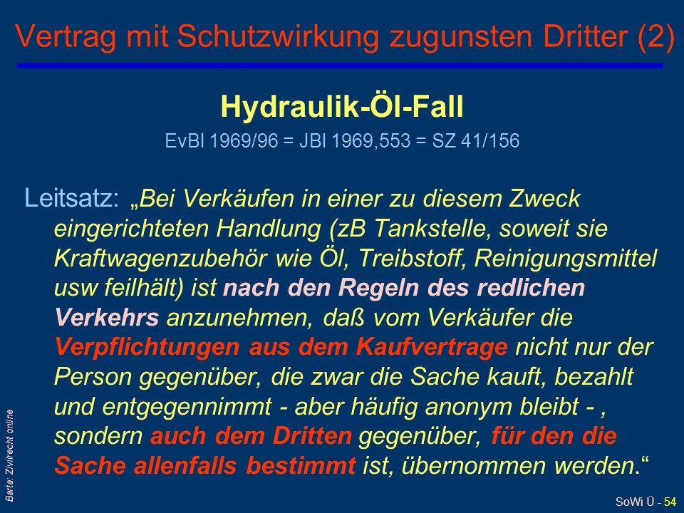 SoWi Ü - 54 Barta: Zivilrecht online Vertrag mit Schutzwirkung zugunsten Dritter (2) Hydraulik-Öl-Fall EvBl 1969/96 = JBl 1969,553 = SZ 41/156 Leitsat