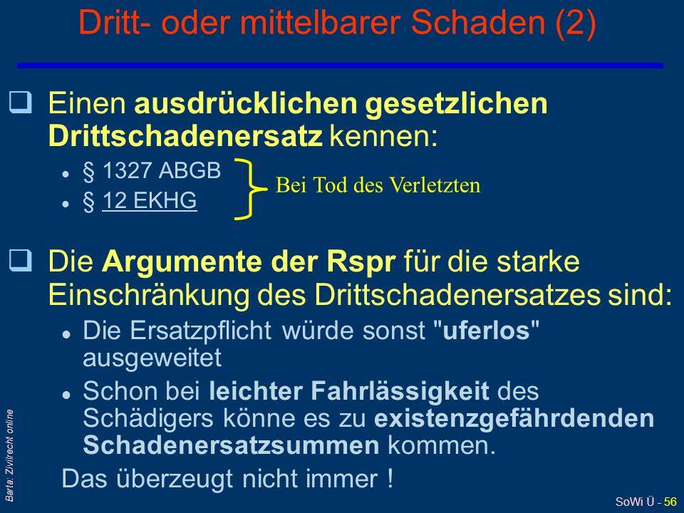 SoWi Ü - 56 Barta: Zivilrecht online Dritt- oder mittelbarer Schaden (2) qEinen ausdrücklichen gesetzlichen Drittschadenersatz kennen: l § 1327 ABGB l