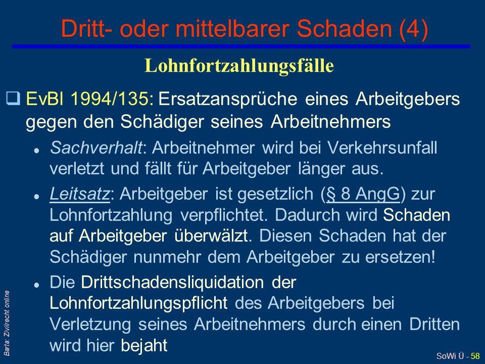 SoWi Ü - 58 Barta: Zivilrecht online Dritt- oder mittelbarer Schaden (4) qEvBl 1994/135: Ersatzansprüche eines Arbeitgebers gegen den Schädiger seines