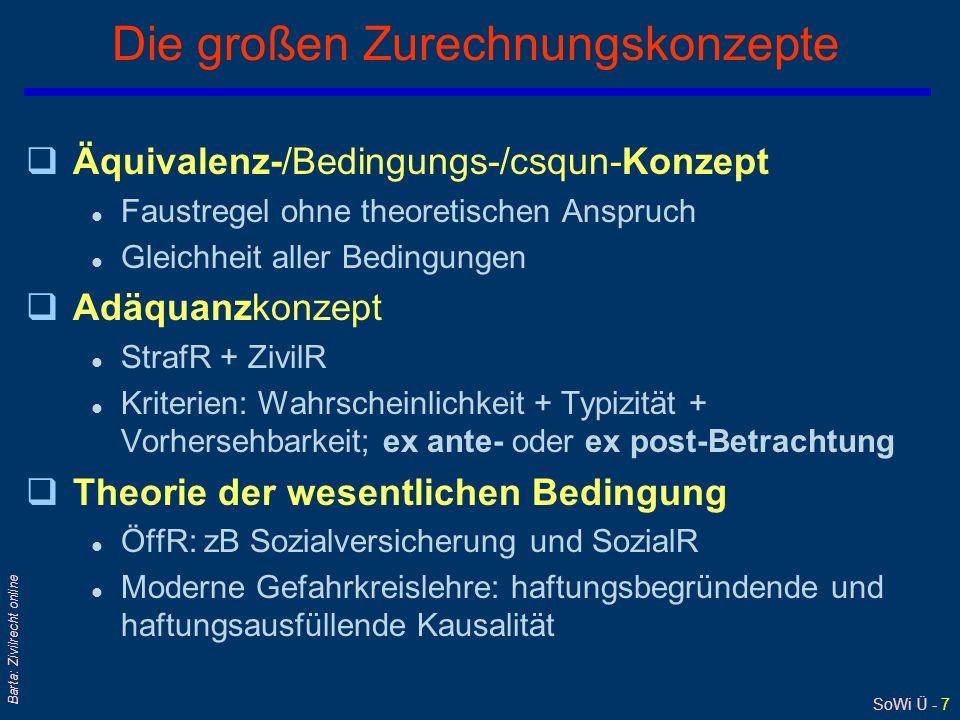 SoWi Ü - 7 Barta: Zivilrecht online Die großen Zurechnungskonzepte qÄquivalenz-/Bedingungs-/csqun-Konzept l Faustregel ohne theoretischen Anspruch l G