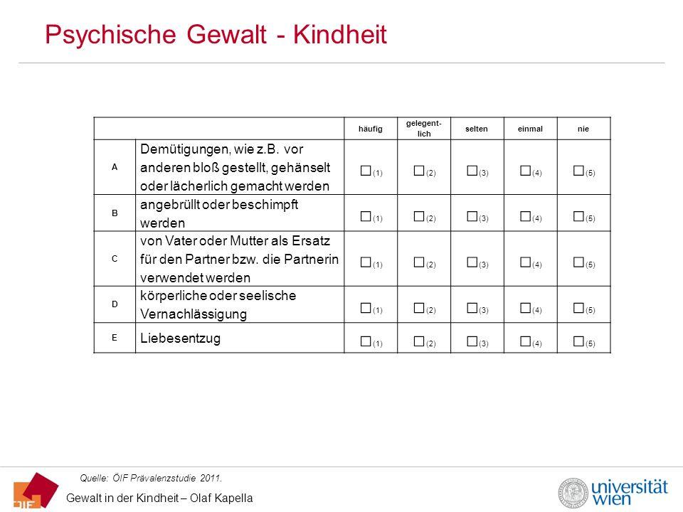 Gewalt in der Kindheit – Olaf Kapella Psychische Gewalt - Kindheit Quelle: ÖIF Prävalenzstudie 2011. häufig gelegent- lich selteneinmalnie A Demütigun