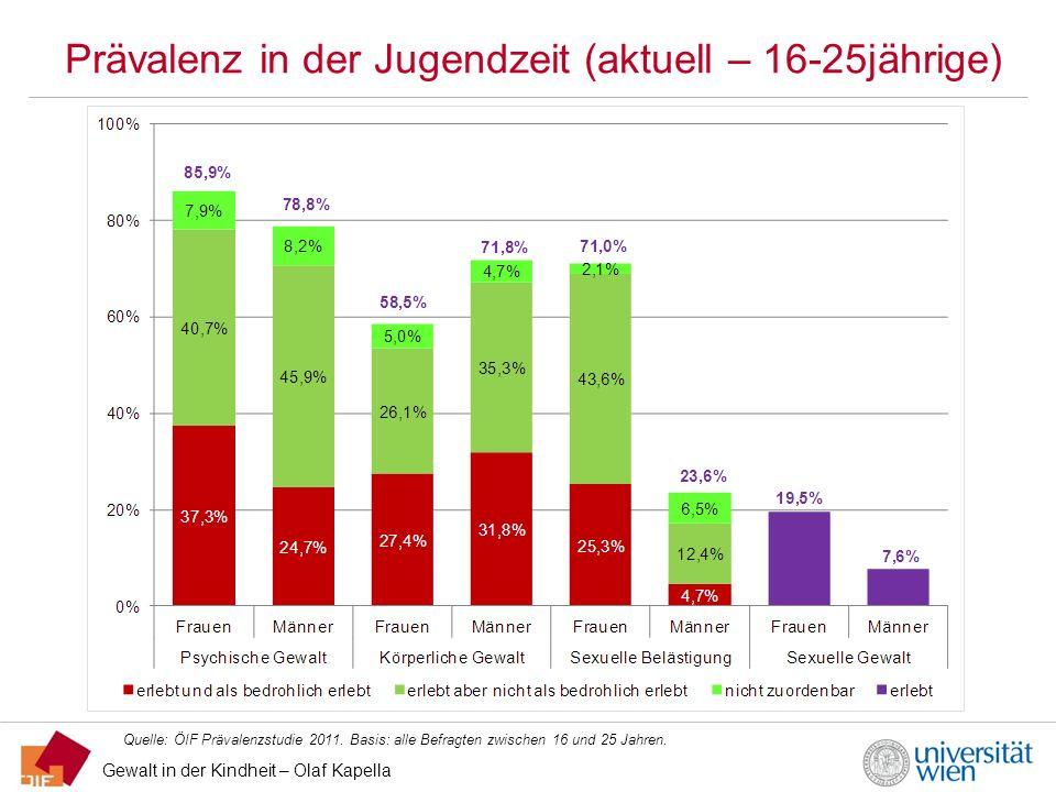Gewalt in der Kindheit – Olaf Kapella Prävalenz in der Jugendzeit (aktuell – 16-25jährige) Quelle: ÖIF Prävalenzstudie 2011. Basis: alle Befragten zwi
