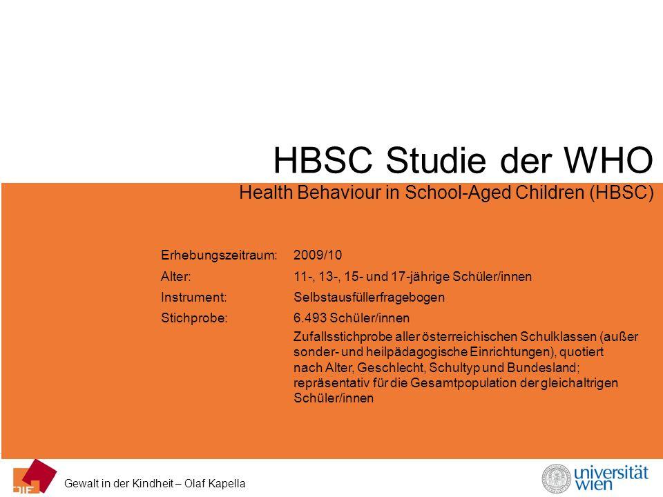 Gewalt in der Kindheit – Olaf Kapella HBSC Studie der WHO Health Behaviour in School-Aged Children (HBSC) Erhebungszeitraum: 2009/10 Alter: 11-, 13-,