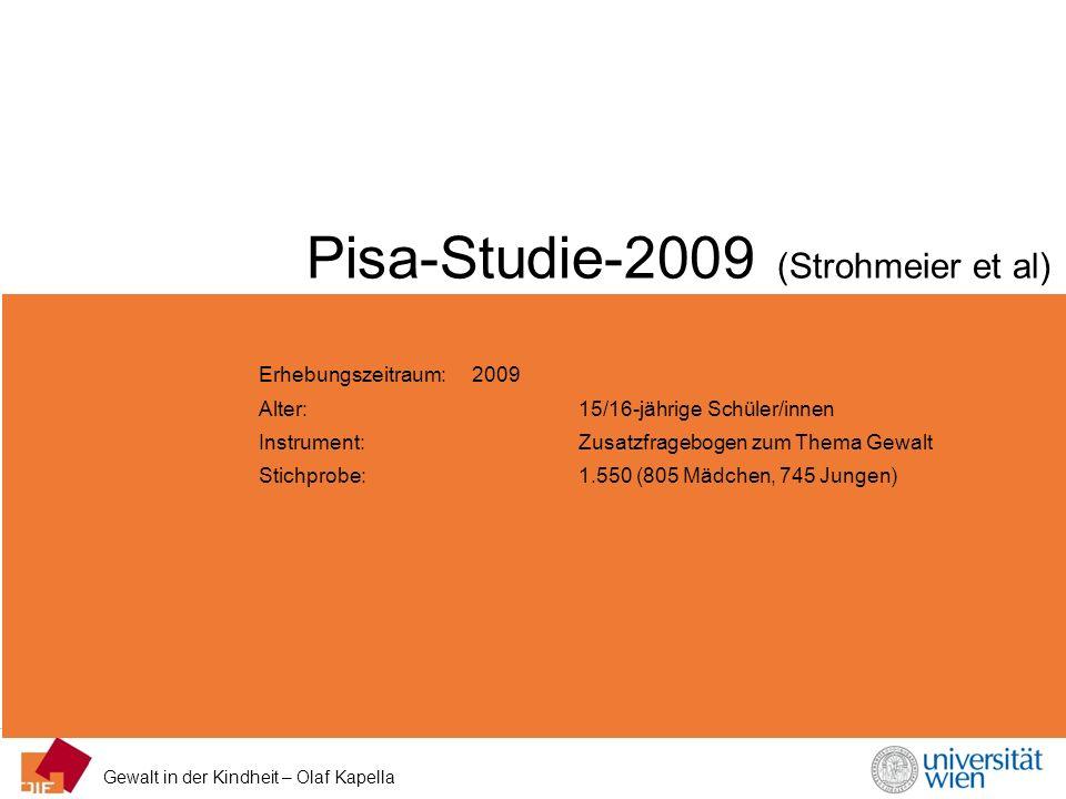 Gewalt in der Kindheit – Olaf Kapella Pisa-Studie-2009 (Strohmeier et al) Erhebungszeitraum: 2009 Alter: 15/16-jährige Schüler/innen Instrument: Zusat