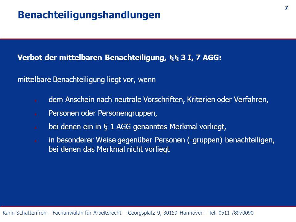 Karin Schattenfroh – Fachanwältin für Arbeitsrecht – Georgsplatz 9, 30159 Hannover – Tel.