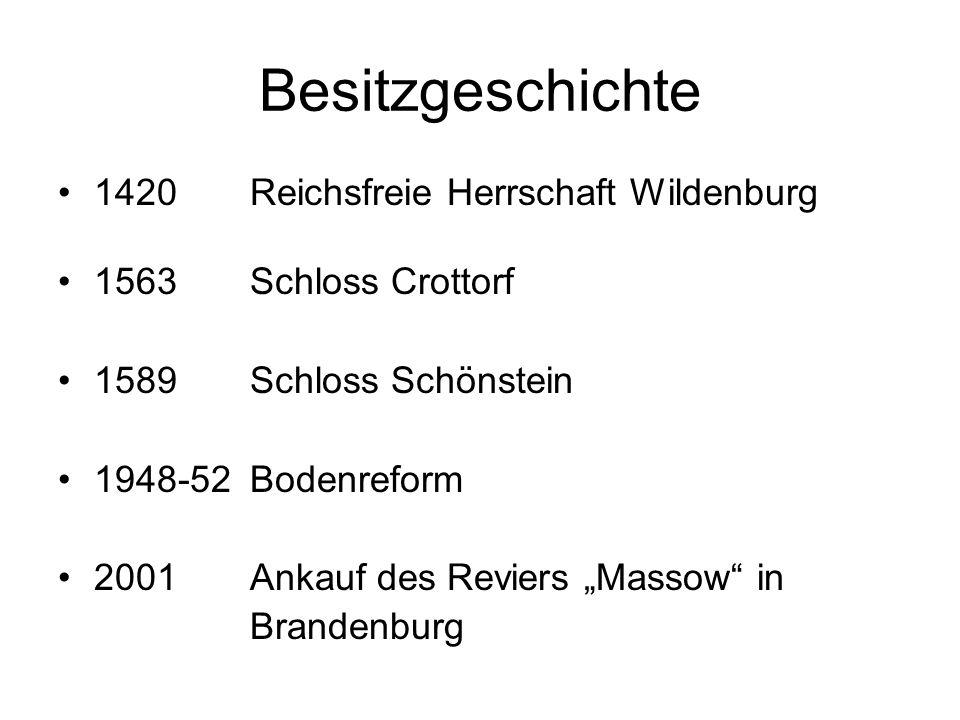 Besitzgeschichte 1420Reichsfreie Herrschaft Wildenburg 1563Schloss Crottorf 1589Schloss Schönstein 1948-52 Bodenreform 2001 Ankauf des Reviers Massow