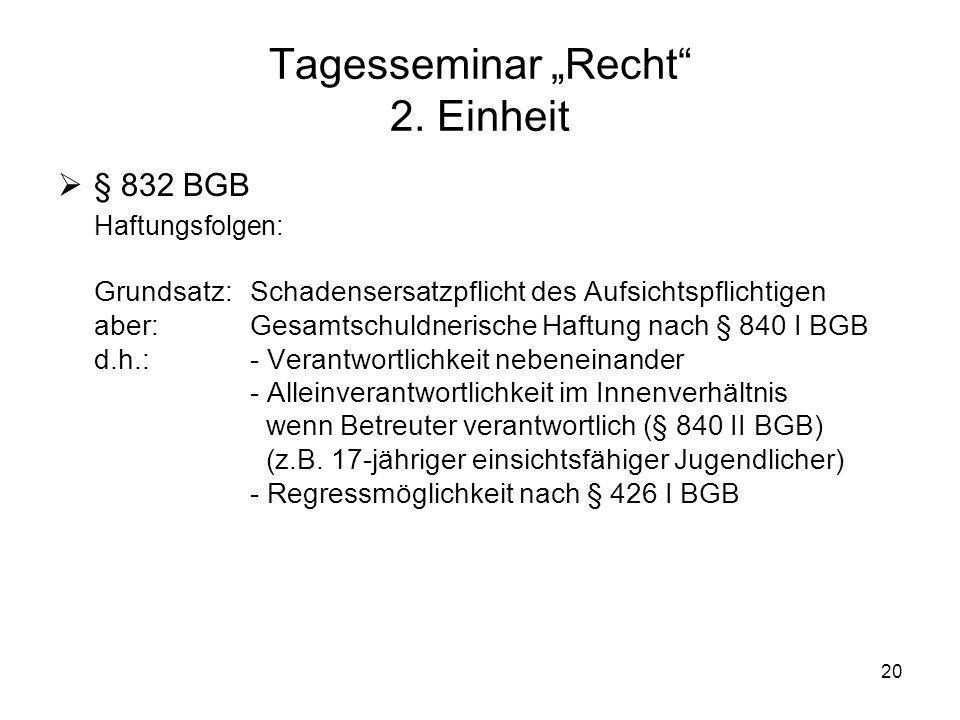 20 Tagesseminar Recht 2. Einheit § 832 BGB Haftungsfolgen: Grundsatz: Schadensersatzpflicht des Aufsichtspflichtigen aber: Gesamtschuldnerische Haftun