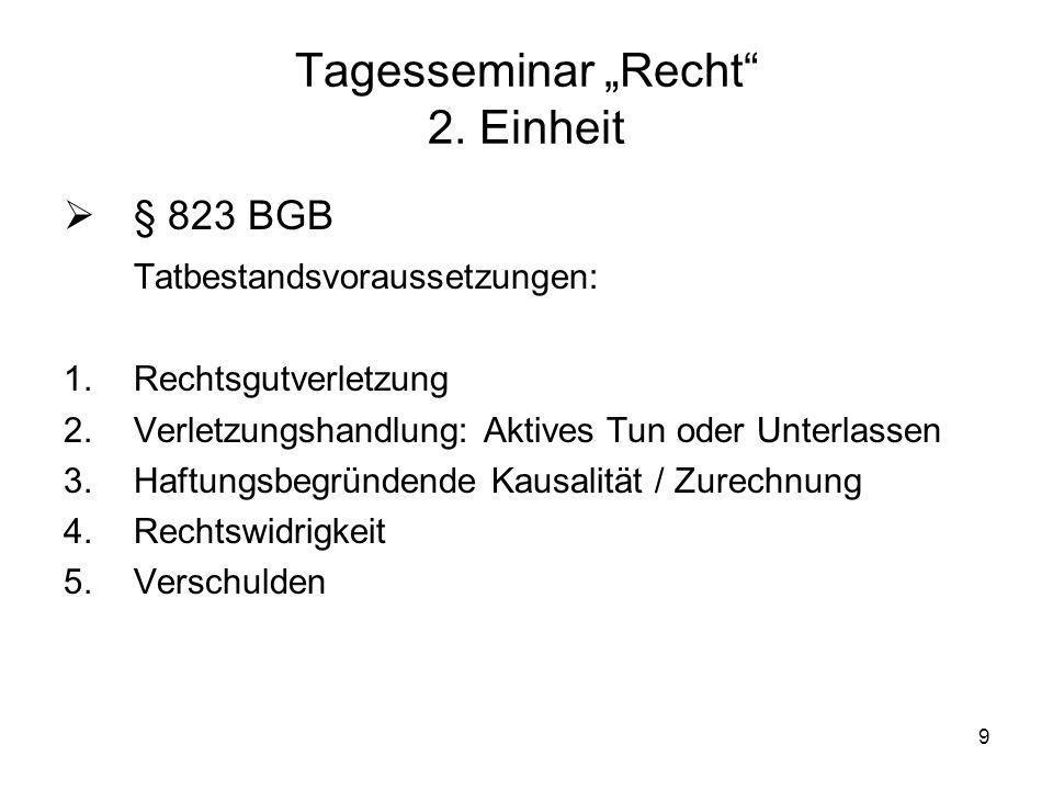 10 Tagesseminar Recht 2.Einheit § 823 BGB 1.