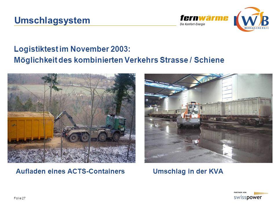 Folie 27 Umschlagsystem Logistiktest im November 2003: Möglichkeit des kombinierten Verkehrs Strasse / Schiene Aufladen eines ACTS-ContainersUmschlag