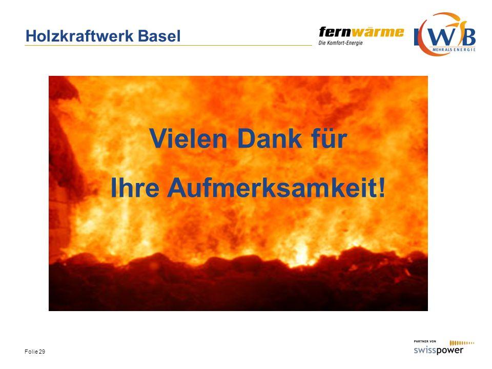 Folie 29 Vielen Dank für Ihre Aufmerksamkeit! Holzkraftwerk Basel