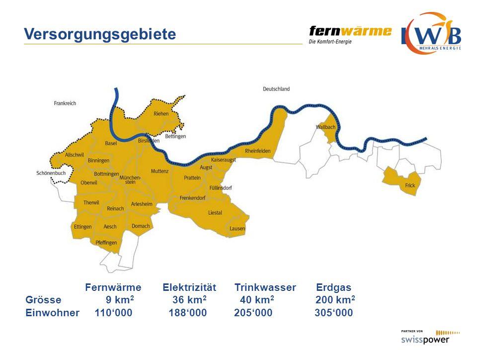Fernwärme Elektrizität Trinkwasser Erdgas Grösse 9 km 2 36 km 2 40 km 2 200 km 2 Einwohner 110000188000 205000 305000 Versorgungsgebiete