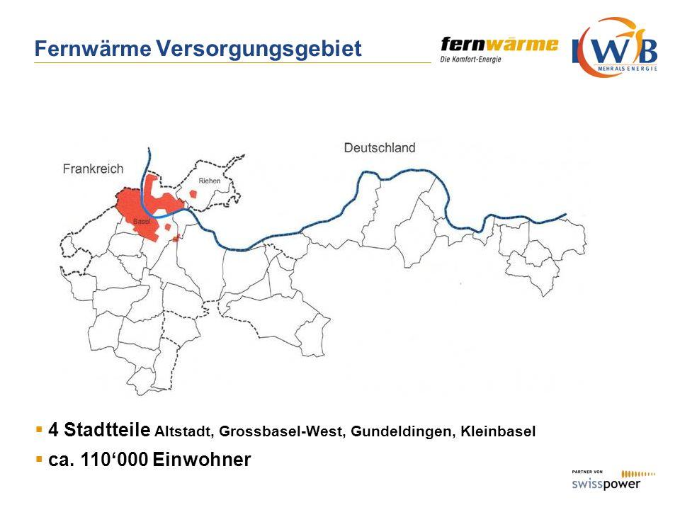 Fernwärme Versorgungsgebiet 4 Stadtteile Altstadt, Grossbasel-West, Gundeldingen, Kleinbasel ca. 110000 Einwohner