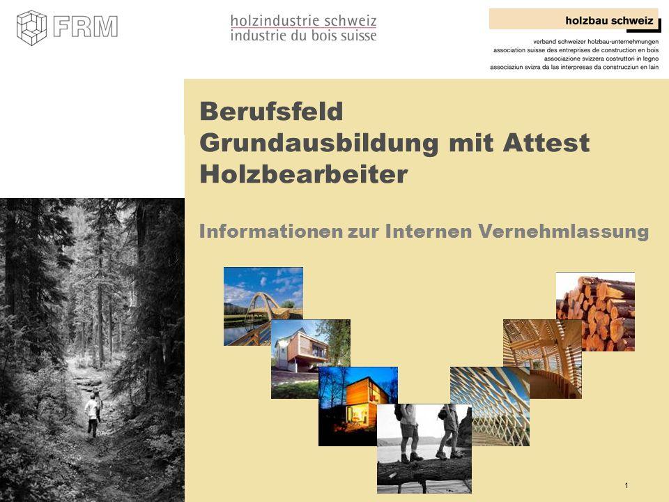 1 Berufsfeld Grundausbildung mit Attest Holzbearbeiter Informationen zur Internen Vernehmlassung