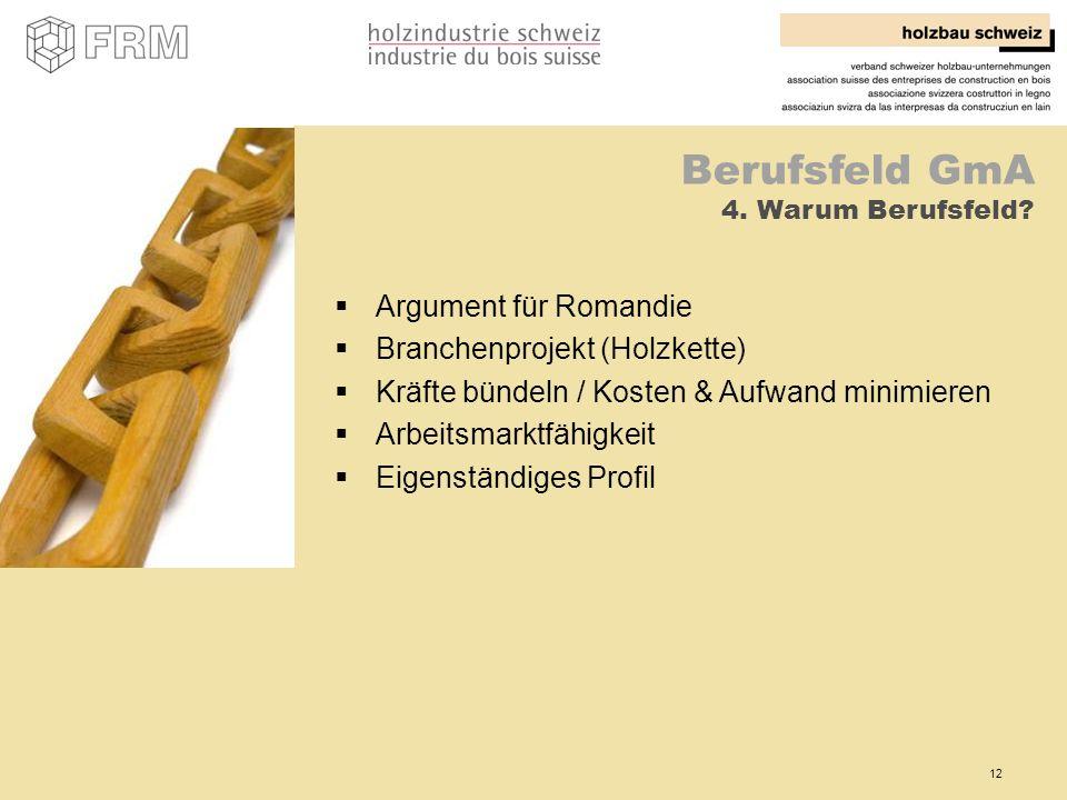 12 Berufsfeld GmA 4. Warum Berufsfeld? Argument für Romandie Branchenprojekt (Holzkette) Kräfte bündeln / Kosten & Aufwand minimieren Arbeitsmarktfähi