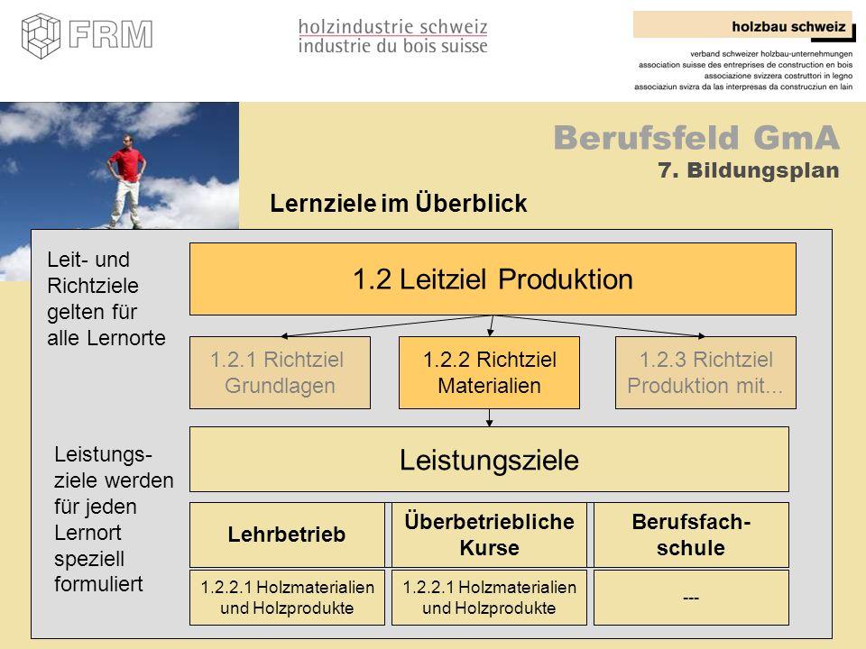 29 Berufsfeld GmA 7. Bildungsplan 1.2 Leitziel Produktion 1.2.1 Richtziel Grundlagen 1.2.2 Richtziel Materialien 1.2.3 Richtziel Produktion mit... Lei