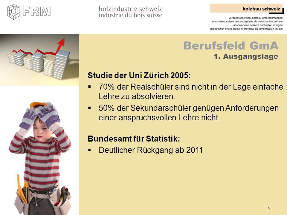5 Berufsfeld GmA 1. Ausgangslage Studie der Uni Zürich 2005: 70% der Realschüler sind nicht in der Lage einfache Lehre zu absolvieren. 50% der Sekunda