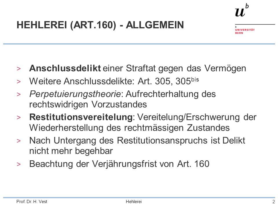 Hehlerei 2 Prof. Dr. H. Vest HEHLEREI (ART.160) - ALLGEMEIN > Anschlussdelikt einer Straftat gegen das Vermögen > Weitere Anschlussdelikte: Art. 305,
