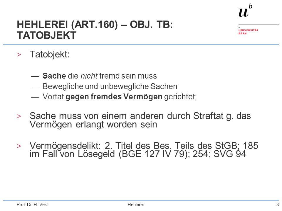 Hehlerei 3 Prof. Dr. H. Vest HEHLEREI (ART.160) – OBJ. TB: TATOBJEKT > Tatobjekt: Sache die nicht fremd sein muss Bewegliche und unbewegliche Sachen V