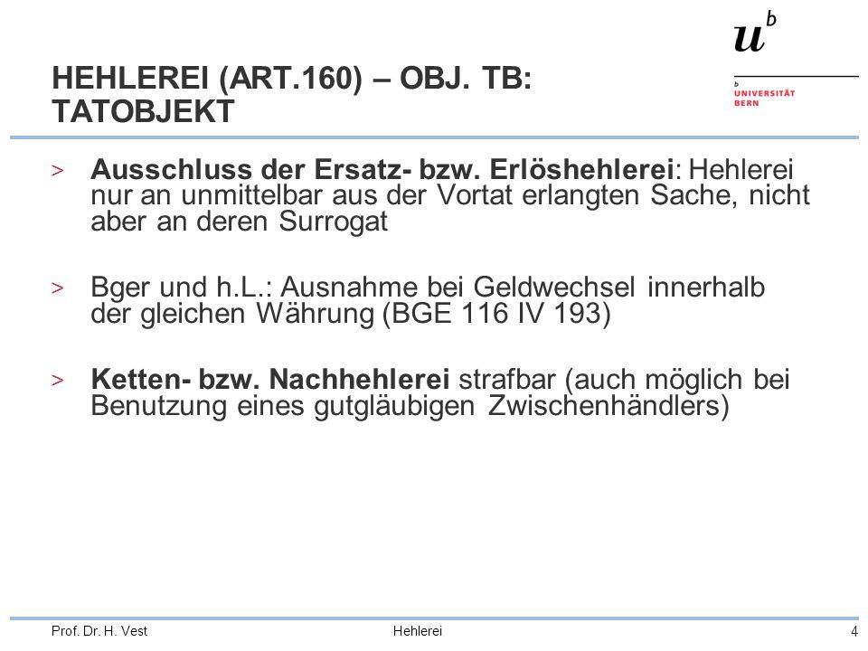 Hehlerei 4 Prof. Dr. H. Vest HEHLEREI (ART.160) – OBJ. TB: TATOBJEKT > Ausschluss der Ersatz- bzw. Erlöshehlerei: Hehlerei nur an unmittelbar aus der