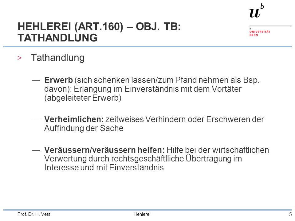 Hehlerei 5 Prof. Dr. H. Vest HEHLEREI (ART.160) – OBJ. TB: TATHANDLUNG > Tathandlung Erwerb (sich schenken lassen/zum Pfand nehmen als Bsp. davon): Er