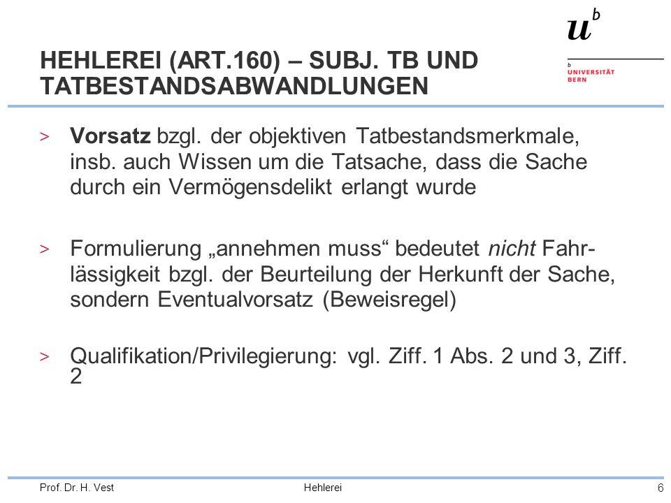 Hehlerei 6 Prof. Dr. H. Vest HEHLEREI (ART.160) – SUBJ. TB UND TATBESTANDSABWANDLUNGEN > Vorsatz bzgl. der objektiven Tatbestandsmerkmale, insb. auch