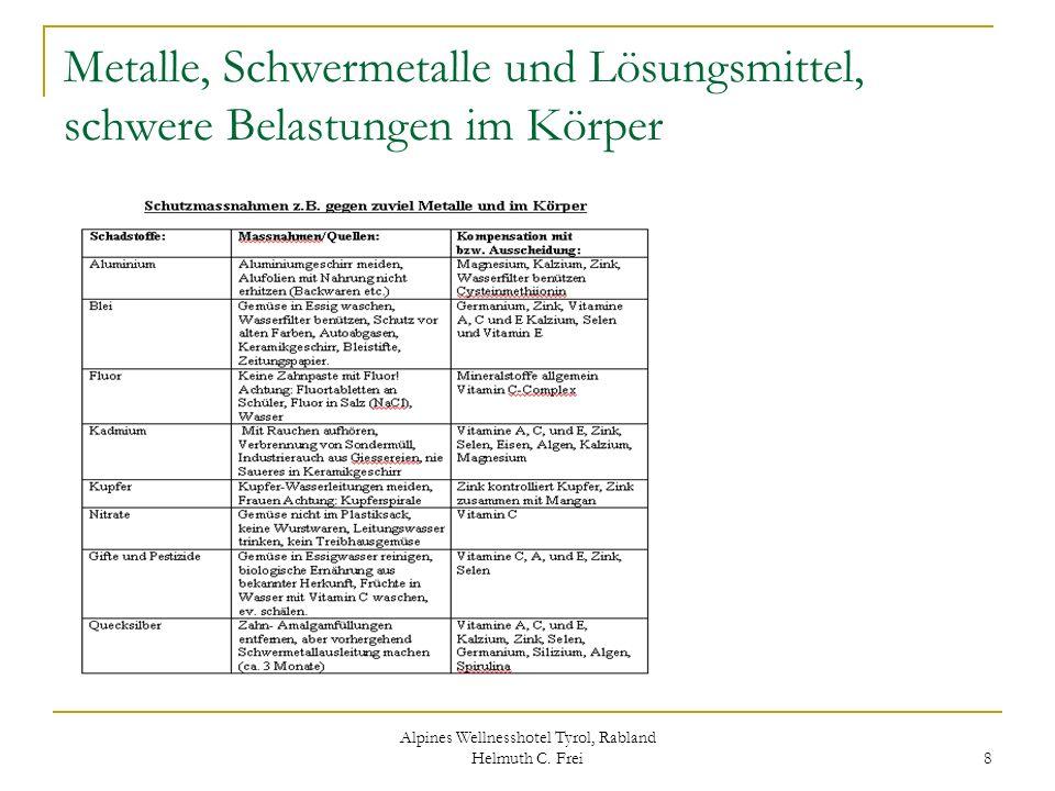Alpines Wellnesshotel Tyrol, Rabland Helmuth C. Frei 8 Metalle, Schwermetalle und Lösungsmittel, schwere Belastungen im Körper