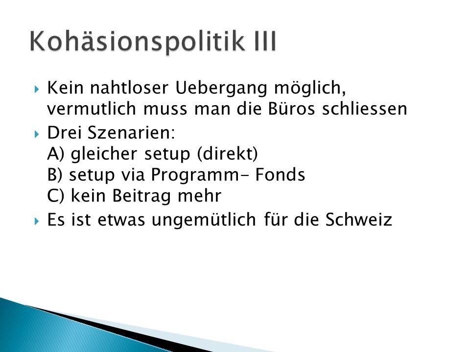 Kein nahtloser Uebergang möglich, vermutlich muss man die Büros schliessen Drei Szenarien: A) gleicher setup (direkt) B) setup via Programm- Fonds C) kein Beitrag mehr Es ist etwas ungemütlich für die Schweiz