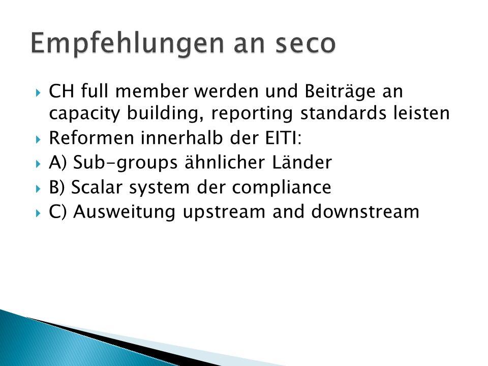 CH full member werden und Beiträge an capacity building, reporting standards leisten Reformen innerhalb der EITI: A) Sub-groups ähnlicher Länder B) Scalar system der compliance C) Ausweitung upstream and downstream