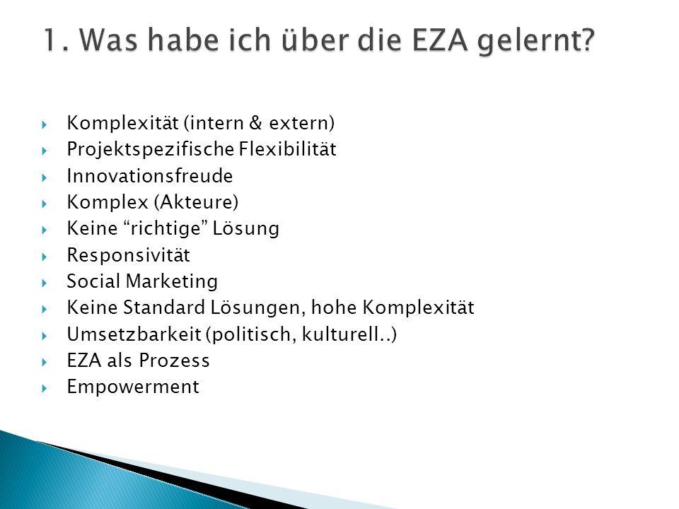 Komplexität (intern & extern) Projektspezifische Flexibilität Innovationsfreude Komplex (Akteure) Keine richtige Lösung Responsivität Social Marketing Keine Standard Lösungen, hohe Komplexität Umsetzbarkeit (politisch, kulturell..) EZA als Prozess Empowerment