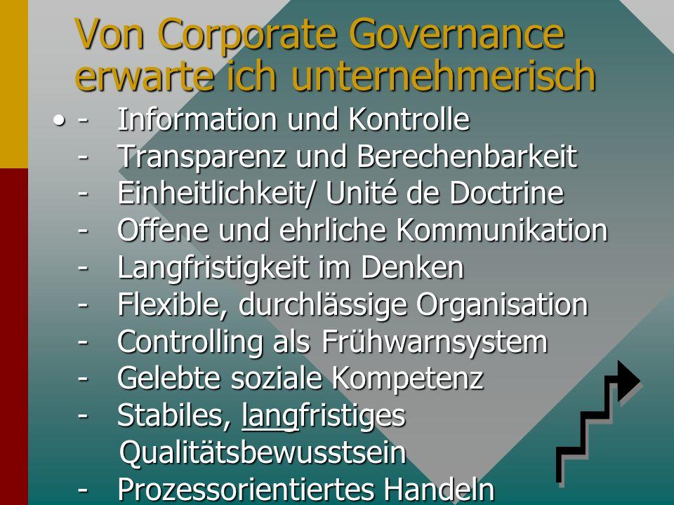 Von Corporate Governance erwarte ich unternehmerisch - Information und Kontrolle - Transparenz und Berechenbarkeit - Einheitlichkeit/ Unité de Doctrine - Offene und ehrliche Kommunikation - Langfristigkeit im Denken - Flexible, durchlässige Organisation - Controlling als Frühwarnsystem - Gelebte soziale Kompetenz - Stabiles, langfristiges Qualitätsbewusstsein - Prozessorientiertes Handeln- Information und Kontrolle - Transparenz und Berechenbarkeit - Einheitlichkeit/ Unité de Doctrine - Offene und ehrliche Kommunikation - Langfristigkeit im Denken - Flexible, durchlässige Organisation - Controlling als Frühwarnsystem - Gelebte soziale Kompetenz - Stabiles, langfristiges Qualitätsbewusstsein - Prozessorientiertes Handeln