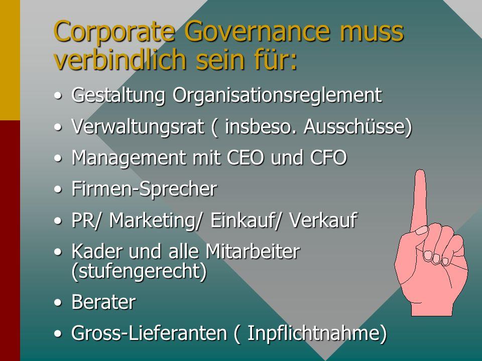 Corporate Governance muss verbindlich sein für: Gestaltung OrganisationsreglementGestaltung Organisationsreglement Verwaltungsrat ( insbeso.