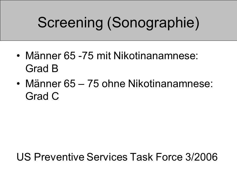 Screening (Sonographie) Männer 65 -75 mit Nikotinanamnese: Grad B Männer 65 – 75 ohne Nikotinanamnese: Grad C US Preventive Services Task Force 3/2006