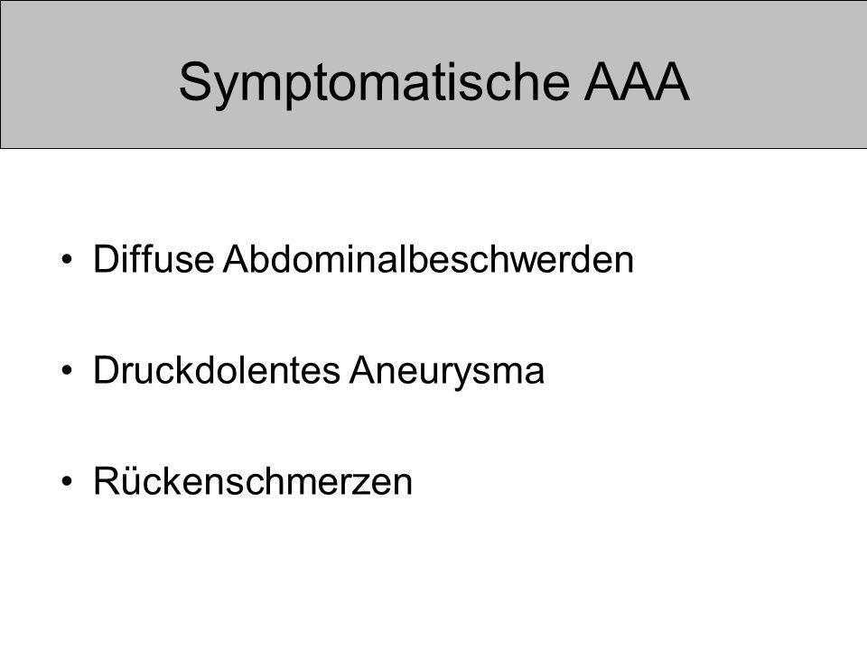 Symptomatische AAA Diffuse Abdominalbeschwerden Druckdolentes Aneurysma Rückenschmerzen