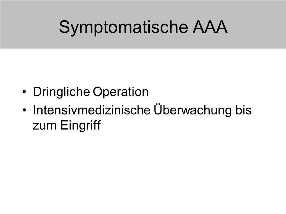 Symptomatische AAA Dringliche Operation Intensivmedizinische Überwachung bis zum Eingriff