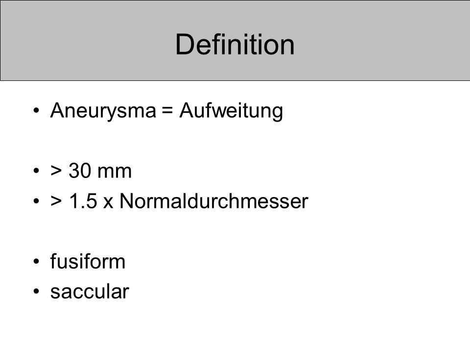Definition Aneurysma = Aufweitung > 30 mm > 1.5 x Normaldurchmesser fusiform saccular