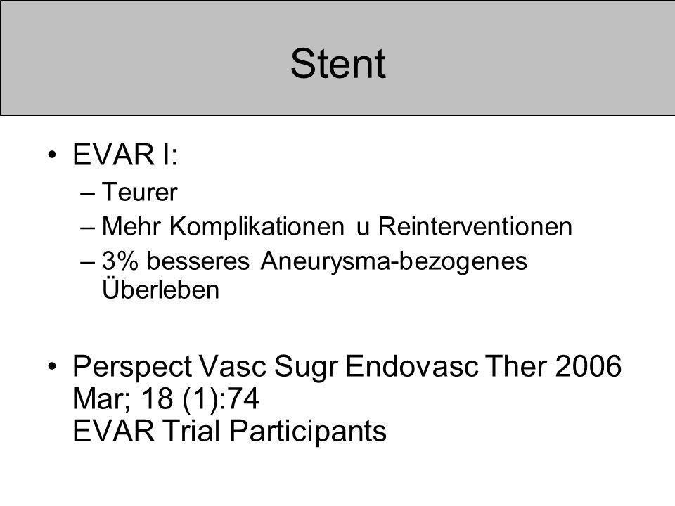 Stent EVAR I: –Teurer –Mehr Komplikationen u Reinterventionen –3% besseres Aneurysma-bezogenes Überleben Perspect Vasc Sugr Endovasc Ther 2006 Mar; 18 (1):74 EVAR Trial Participants