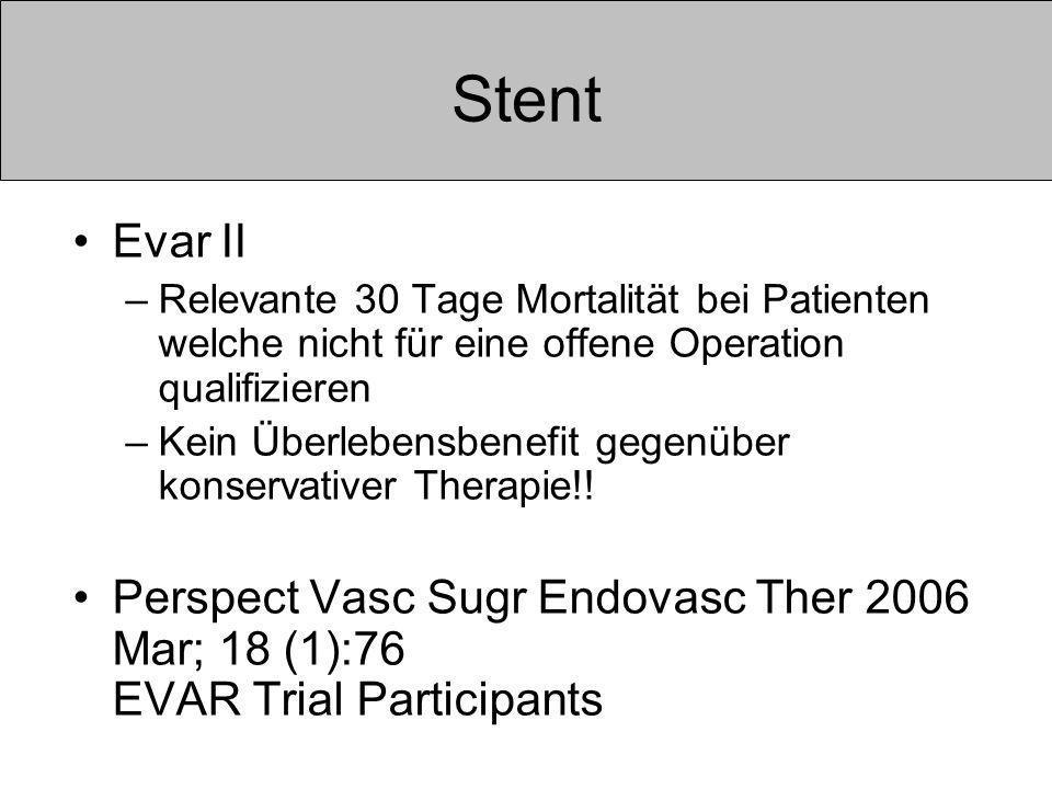 Stent Evar II –Relevante 30 Tage Mortalität bei Patienten welche nicht für eine offene Operation qualifizieren –Kein Überlebensbenefit gegenüber konservativer Therapie!.