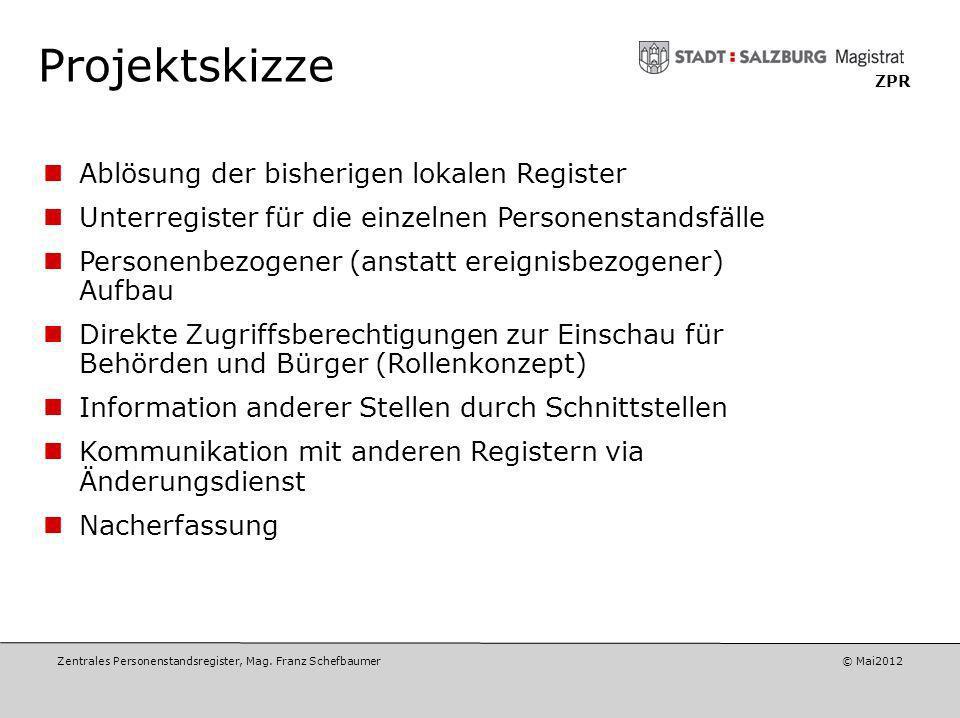 Zentrales Personenstandsregister, Mag. Franz Schefbaumer © Mai2012 ZPR Projektziele Die BürgerInnen sollen die erforderlichen Dokumente bei allen Stan