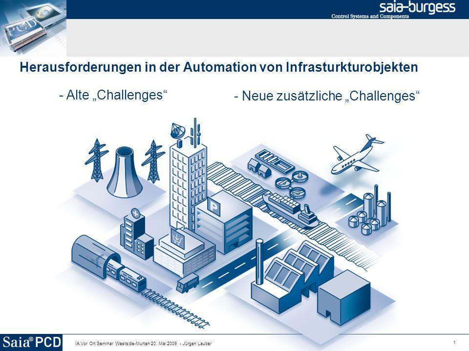 1 IA Vor Ort Seminar Westside-Murten 20. Mai 2009 - Jürgen Lauber Herausforderungen in der Automation von Infrasturkturobjekten - Alte Challenges - Ne
