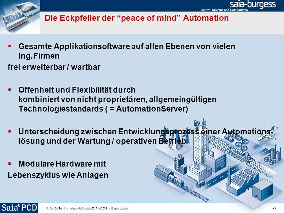 20 IA Vor Ort Seminar Westside-Murten 20. Mai 2009 - Jürgen Lauber Die Eckpfeiler der peace of mind Automation Gesamte Applikationsoftware auf allen E