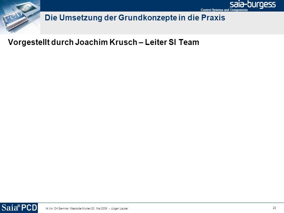 23 IA Vor Ort Seminar Westside-Murten 20. Mai 2009 - Jürgen Lauber Die Umsetzung der Grundkonzepte in die Praxis Vorgestellt durch Joachim Krusch – Le